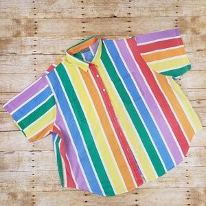 Vintage 80s Rainbow stripe button up shirt